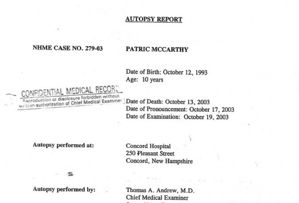 DISCREPENCIES BETWEEN THE EXTERNAL EXAM BY ROSEMARY SWAIN AND THE AUTOPSY REPORT BY DR. THOMAS ANDREWS